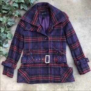 Moda International Belted Plaid Pea Coat